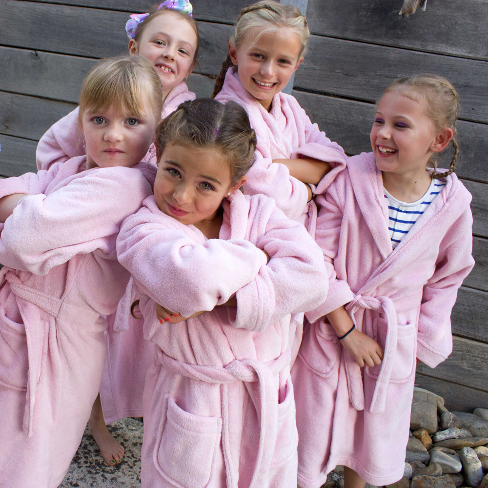 Girls in pamper party robes