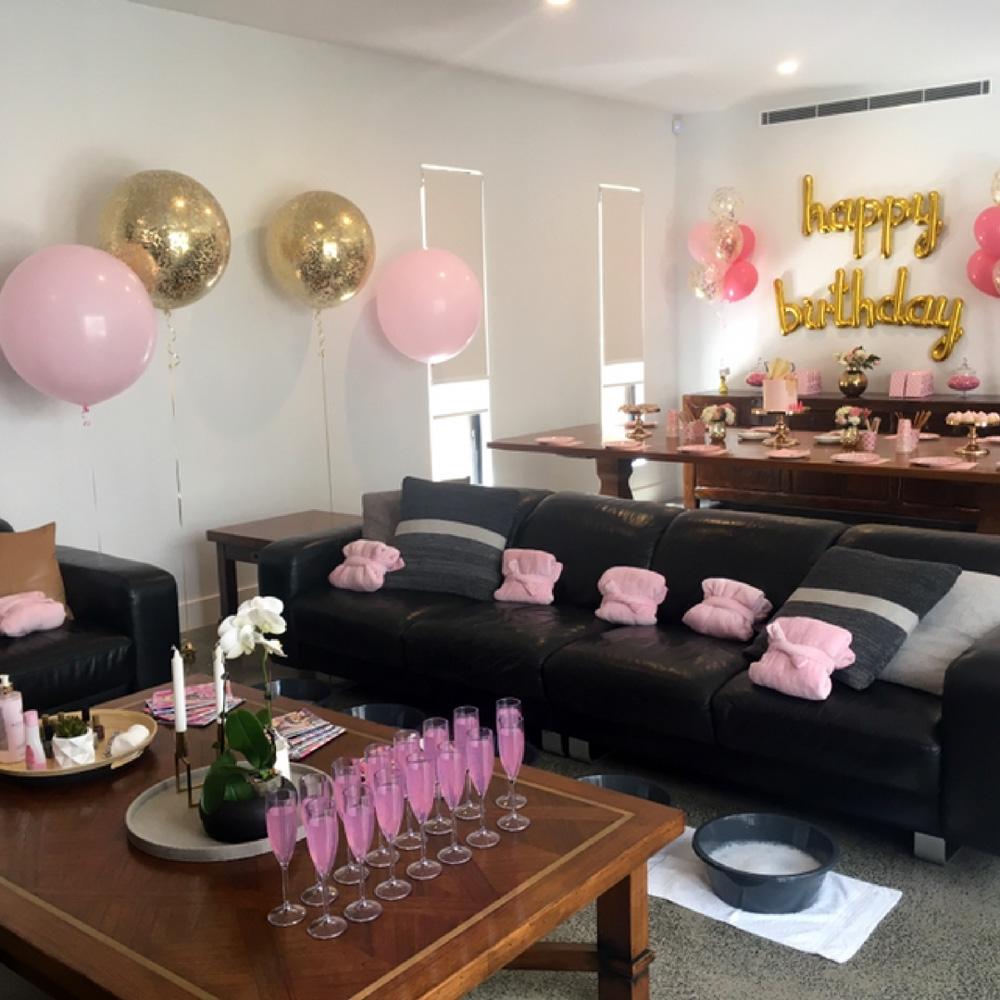 Pamper party room setup